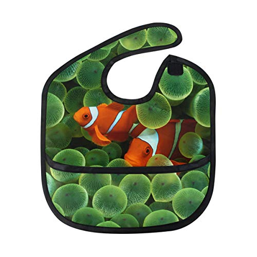 Clownfish Tropical Nemo Baby Bibs Waterproof,Washable,Baby Teething Bib 6-24 Months ()