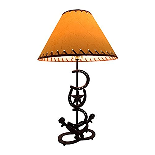 Incroyable Metal Table Lamps Horseshoes And Spurs Western Style Metal Lamp W/Leather  Look Shade 16 X 27.5 X 16 Inches Brown