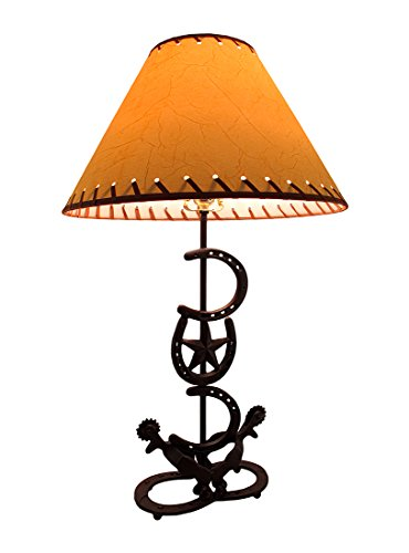 (Horseshoes and Spurs Western Style Metal Lamp w/Leather Look Shade)