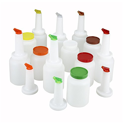 Winco PPB-2MX, 2-Quart Liquor And Juice Pour Bottles With Assorted Color Spouts And Lids, Multi-Colored Flow-N-Stow Bar Pour Bottles, Set of 12
