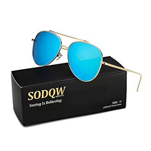 (SODQW Classic Sunglasses Women Polarized, Mirrored Flat Lens UV Protection, Fashion Lightweight Frame Eyeglasses (gold/ice blue Lens(mirror)))