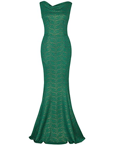 MUXXN Women's 40s Classic Floral Lace Prom Long Dress (Green Lace (1940s Green)