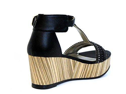 Mujeres Sandalias negro, (schwarz) 144002F2S BLCK