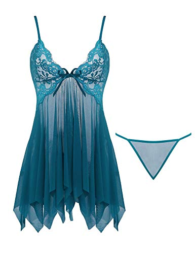 Cherrydew Womens Sexy Lingerie Set Lace Babydoll Sheer Nighties Mesh Open Front Chemise(Peacock Blue, Small)