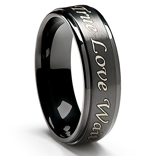 [True Love Waits Purity Ring in Titanium Black Plated (6mm wide) - Men's & Women's Sizes [Size 7.5]] (Cute Couples Costumes Ideas)