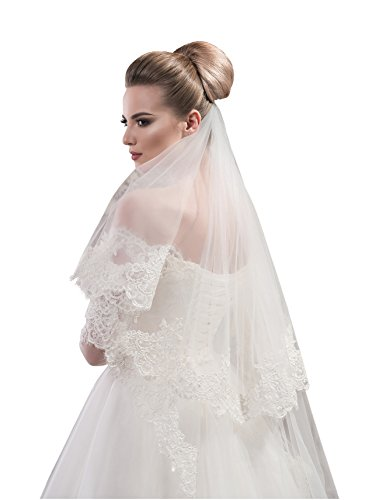 "Bridal Veil Gloria from NYC Bride collection (mid-length 45"", ivory) by NYC Bride"