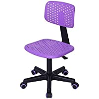 FurnitureR Kids Low-Back Adjustable Computer Seat Office Desk Task Swivel Armless Children Study Chair, Purple