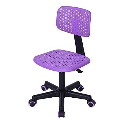 FurnitureR Kids Low Back Adjustable Computer Seat Office Desk Task Swivel  Armless Children Study Chair