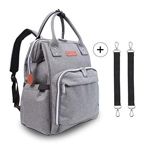 Diaper Bag Backpack - Multi-Function Maternity Nappy Bags for Baby Care | Travel Backpack with Large Capacity, Stroller Straps, Waterproof Cover - Durable and Stylish (Grey)
