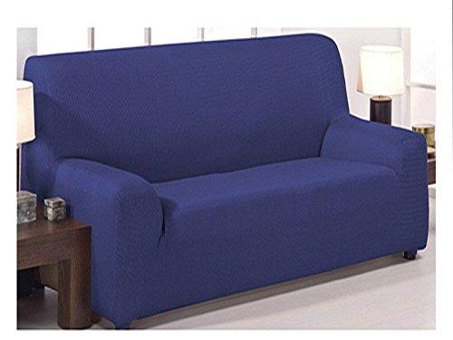 Funda de sofá elástica ajustable modelo mónaco de 3 plazas (180x240cm) disponible en 6 colores lisos (Azul Marino, 180x240)