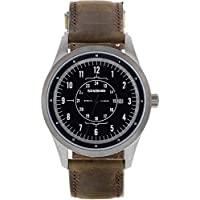 Ace & Archer Men's Leather, Stainless Steel, Aviator Style Watch - Free Leather Wallet with Purchase - Made in The USA - Gun Metal/Brown
