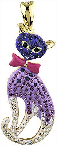 - Wearable Art by Roman Purple Rhinestone Cat Pendant Purple/Gold Tone