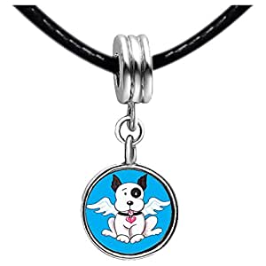 Chicforest Silver Plated Black And White Dog From Heaven Photo White Crystal(April Birthstone) Flower dangle Charm Beads Bracelets European Bracelets Compatible