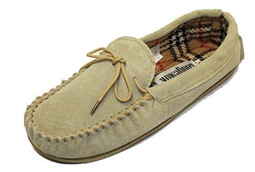 Damen Wildleder & LODGEMOK, kariert, traditionelle Mokassin-Slipper Schuh 077 Beige