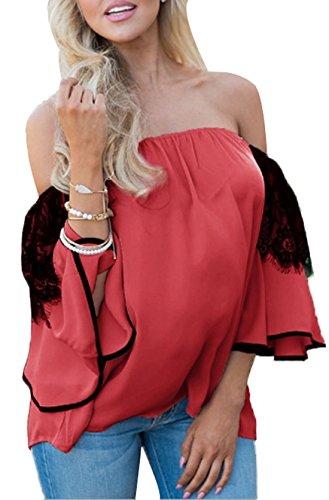 Shirts Irregolare a Blouse Pizzo Tops Fashion Scollo Bluse Maniche Cucitura Rosso Estate Donna Barca Campana Camicie a DouYuLike Fw6gvqH8H