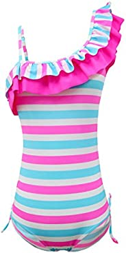 qyqkfly Girls Adjustable One Piece Colorful Stripe Double Ruffle One Shoulder Swimwear 5Y-15Y Swimsuit (FBA)