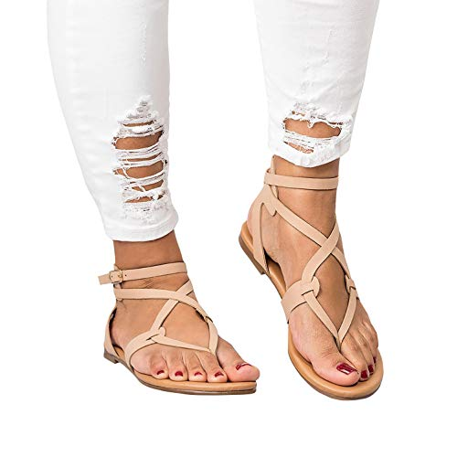 - Womens Flat Strappy Gladiators Sandals Thong Criss Cross Wrap Ankle Strap Open Toe Beach Sandals Khaki