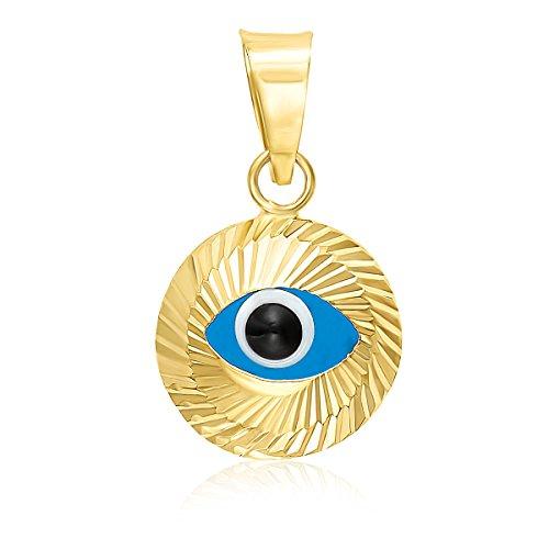 (MCS Jewelry 14 Karat Yellow Gold Small Evil Eye Charm Pendant (9 mm) )
