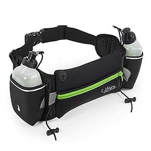 Hydration Running Belt - Nosiva Adjustable Neoprene Water Resistant Waist Fuel Belt Bag, with 2 BPA-free 10oz Water Bottles for Running Hiking Cycling Climbing (Black / Green)