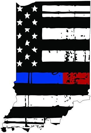 Thin blue red line decal State of New Jersey Tattered Flag Decal