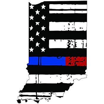 Thin Blue Red line decal State of Maryland Tattered Flag Decal