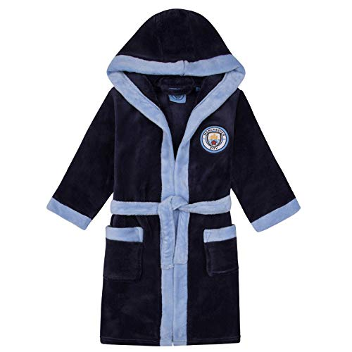 Manchester City FC Official Gift Boys Fleece Dressing Gown Robe Navy 11-12 Years -