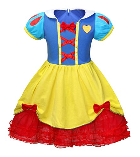 HenzWorld Princess Snow White Fancy Dresses Costumes for Girls Party Halloween Outfit Puff Sleeve 3-4 Years -