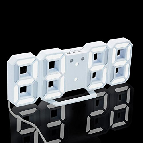 BB67 Clock Modern Digital LED Table Desk Night Wall Clock Alarm Watch 24 or 12 Hour Display (White) by BB67 (Image #1)