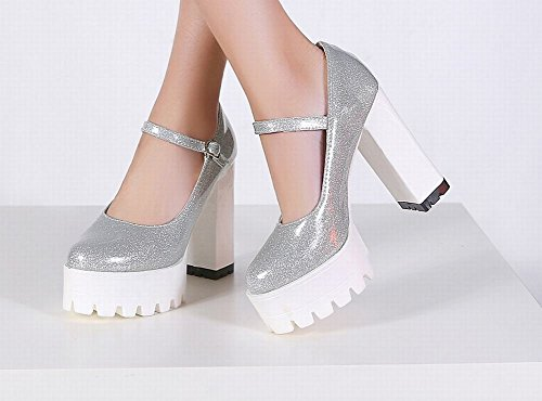MissSaSa Damen Chunky high heel ankle-strap Plateau Pumps Silber