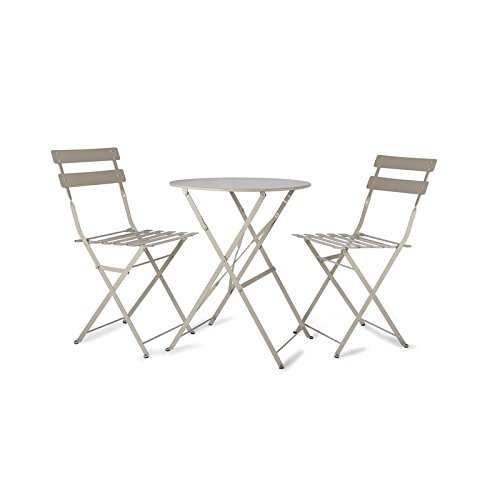 Garden Trading Rive Droite Bistro Set of Table and 2 Chairs - Clay/Beige