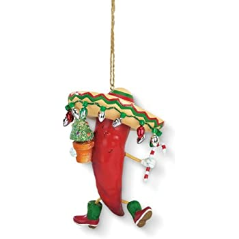Chili Pepper Sombrero Holiday Christmas Tree Ornament - Amazon.com: Chili Pepper Sombrero Holiday Christmas Tree Ornament
