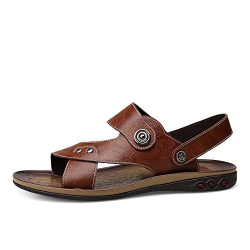 Punta Cuero EU Color de Size Genuino Ajustables Cuero Zapatos MXNET Antideslizante Negro de Black Zapatillas y Sin Hombres Playa 46 Respaldo de Abierta Informal para marrónSandals w4cqXIAc