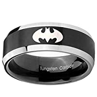 8MM Tungsten Carbide Batman Satin Black Beveled Edges 2 Tone Bands Ring Size 7 to 14