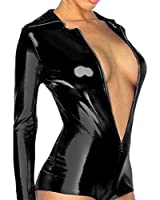 Bloom's Outlet Lingerie Metallic Zip Front Romper Jump Suit Clubwear CMJ323BK M