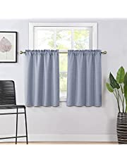 Home Queen Small Bathroom Window Curtain, Waffle Textured Water Repellent Tier Curtains for Kitchen