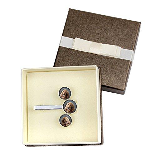 Art Dog Ltd. English Cocker Spaniel, Cufflinks and Tiepin, Photo-Jewelry, Jewelry for Men, Box