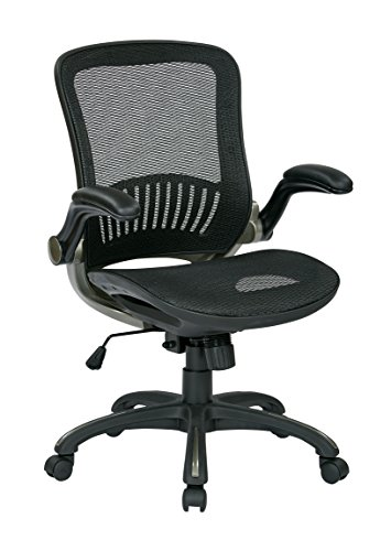 Office Star Beathable Mesh Seat and Back Managers Chair with Padded Flip Arms and Titanium Accents, Black (Managers Star Mesh Office Chair)