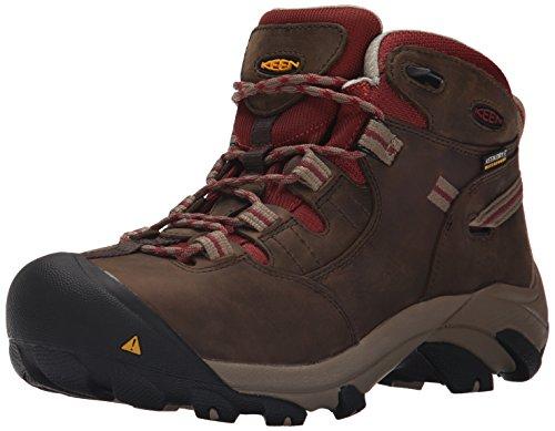 KEEN Utility Women's Detroit Mid Steel Toe Work Boot,Black Olive/Madder Brown,8 M US