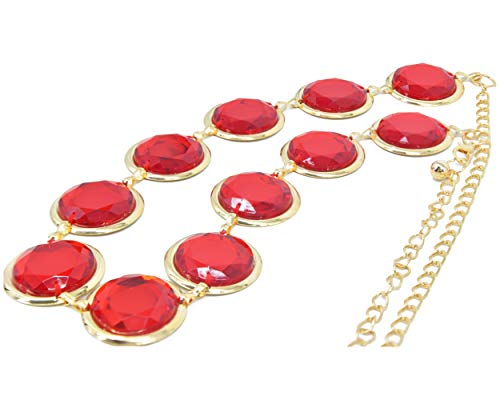 C-ZOFEK Teen Titans Anime Cosplay Waist Belt red Stone Chain for Costumes Props (Eleven Stones)