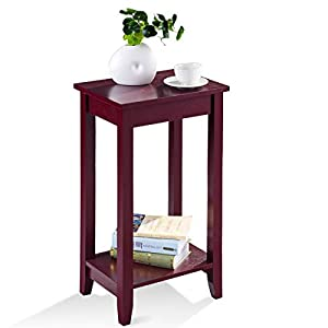 Giantex Tall Side End Table W/Shelf Telephone Table Coffee Bedside Sofa Table for Living Room Bedroom, Espresso Nightstand (1)