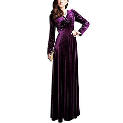 KAXIDY Elegante Mujer Terciopelo Vestidos V-Cuello Vestidos de Noche Vestidos de Cóctel Vestido Largo: Amazon.es: Ropa y accesorios