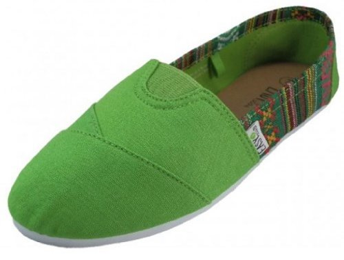 Canvas Shoes Green Padded Slip Women's with EasySteps On Insole FvnOZw55q