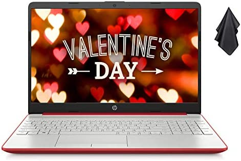 "2021 Newest 15.6"" HP Pavilion HD Laptop, Intel Dual-core Pentium Processor, 8GB RAM, 128GB SSD, Intel UHD Graphics, HD Webcam, Bluetooth, HDMI, USB Type-C, Scarlet Red, Windows 10 + Oydisen Cloth"