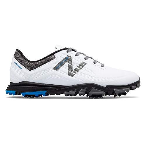 New Balance Men's Minimus Tour Waterproof Spiked Comfort Golf Shoe, White/Black, 10 D D -