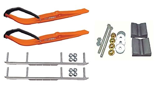 C&A Pro Orange Razor Snowmobile Skis w/ 6'' Shaper Bars Complete Kit Arctic Cat 2012+ Viper 2014+ Except 2016 Procross by Powersports Bundle