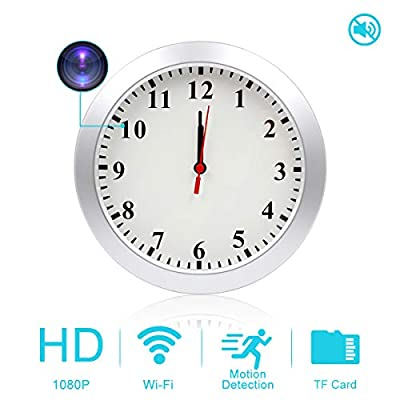 AMCSXH HD 1080P WiFi Hidden Camera Wall Clock Spy Camera with Motion Detection, Security for Home and Office, Nanny Cam/Pet Cam/Wall Clock Cam, Remote-Real Time Video, Support iOS/Android, Video only from AMCSXH