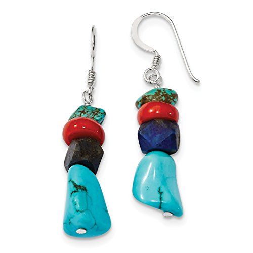 ICE CARATS 925 Sterling Silver Red Coral/howlite/lapis Blue Turquoise Drop Dangle Chandelier Earrings Fine Jewelry Ideal Mothers Day Gifts For Mom Women Gift Set From Heart