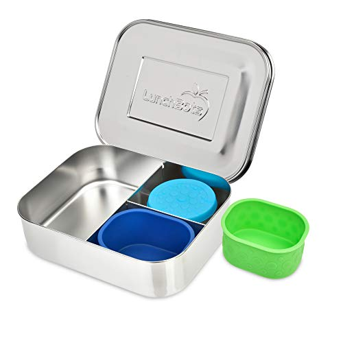 LunchBots Medium Trio II Bento Box Bundle - Divided Stainless Steel Food Container - Three Sections for Snacks On The Go - Eco-Friendly, Dishwasher Safe, BPA-Free - Stainless Lid - Stainless Bundle