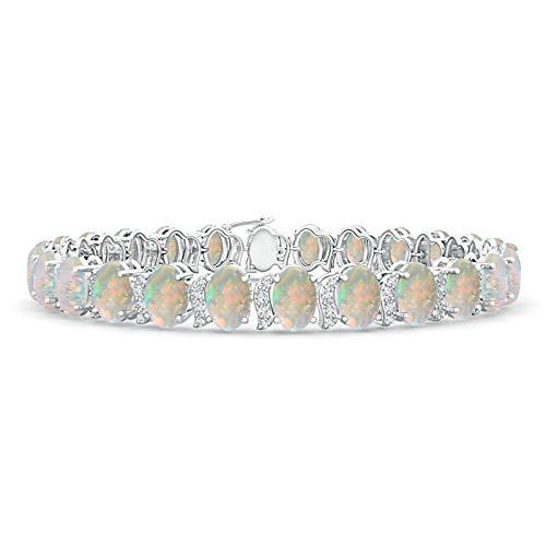 Oval Opal Tennis Bracelet with Swirl Diamond Links in 14K White Gold (6x4mm Opal)
