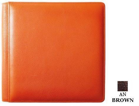 OSTRICH-Grain brown Italian leather #105 album with 5-at-a-time pages by Raika - 4x6